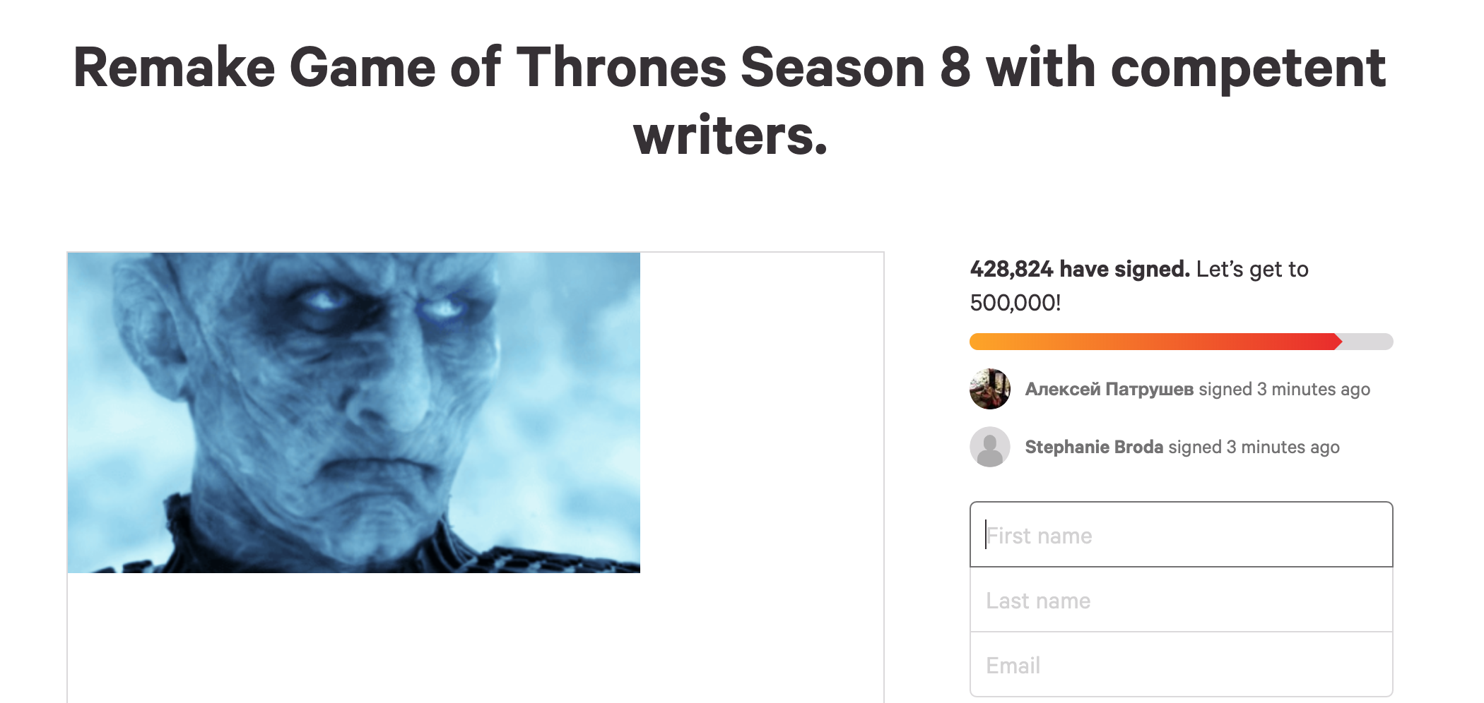 Petition To Remake Game Of Thrones Last Season Reaches Over